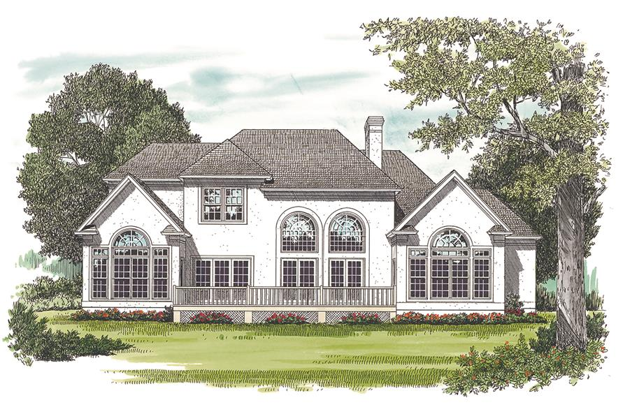 180-1014: Home Plan Rendering - Rear View