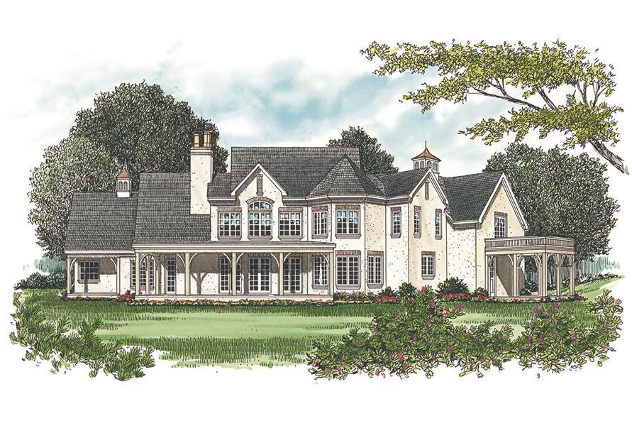 180-1015: Home Plan Rendering - Rear View