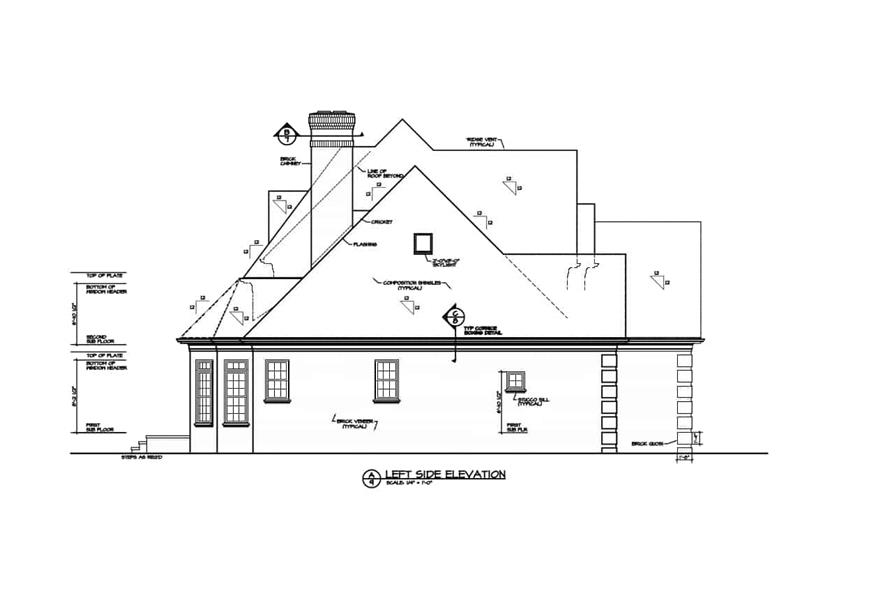 Home Plan Left Elevation of this 4-Bedroom,3226 Sq Ft Plan -180-1016