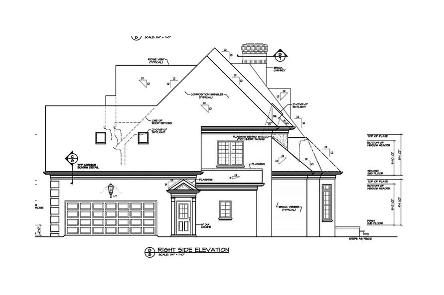 Home Plan Right Elevation of this 4-Bedroom,3226 Sq Ft Plan -180-1016