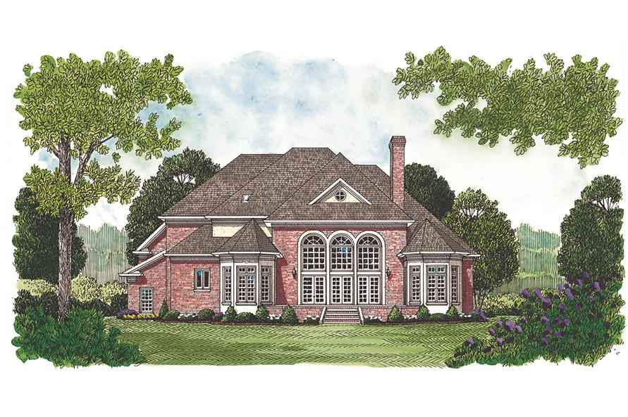 180-1016: Home Plan Rendering - Rear View