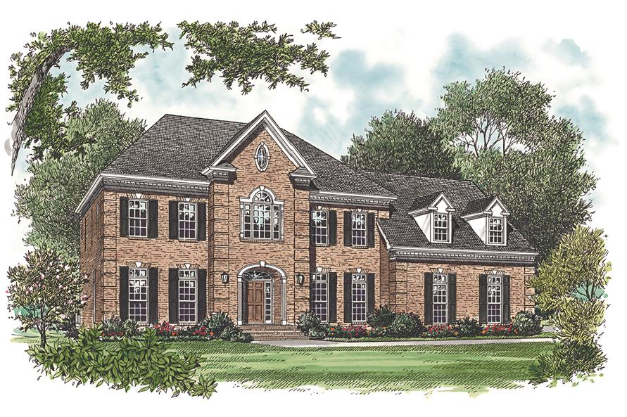 Front elevation of Georgian home (ThePlanCollection: House Plan #180-1017)