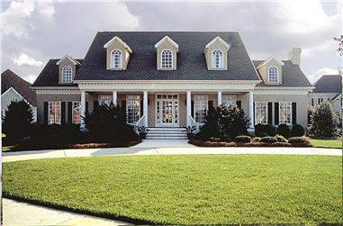 Photo of this classic Southern plantation-style home (ThePlanCollection: House Plan #180-1018)