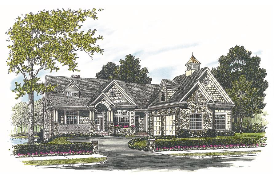 Home Plan Front Elevation of this 4-Bedroom,3546 Sq Ft Plan -180-1019
