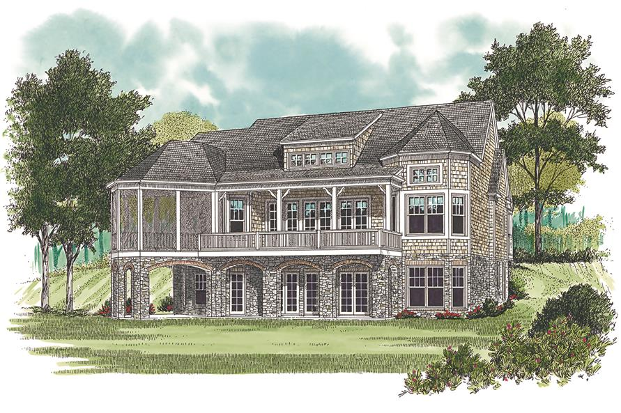 Home Plan Rear Elevation of this 4-Bedroom,3546 Sq Ft Plan -180-1019