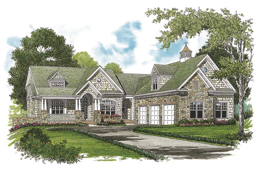 Home Plan Front Elevation of this 4-Bedroom,4304 Sq Ft Plan -180-1020