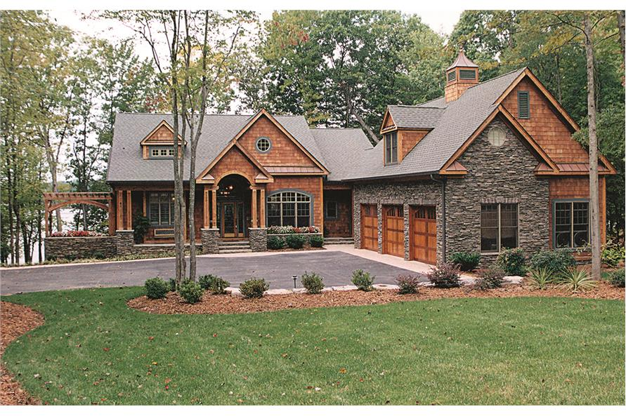 Photo of this country home with Craftsman details (ThePlanCollection: House Plan #180-1020)