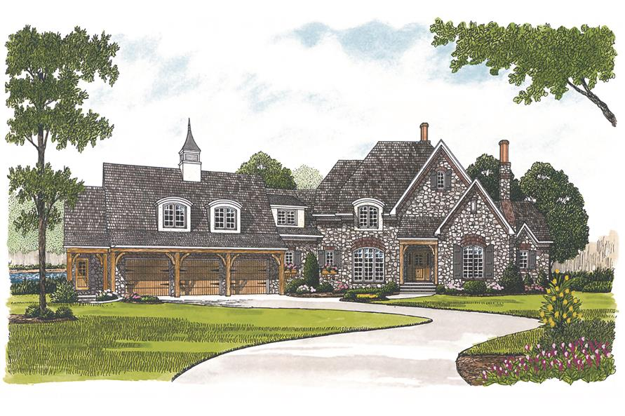 Home Plan Front Elevation of this 3-Bedroom,3660 Sq Ft Plan -180-1021