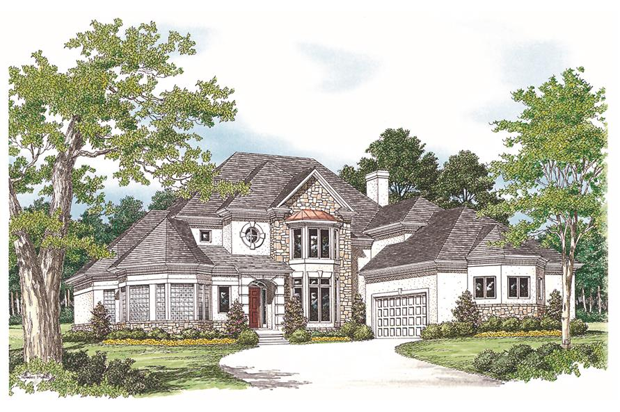 180-1023: Home Plan Front Elevation