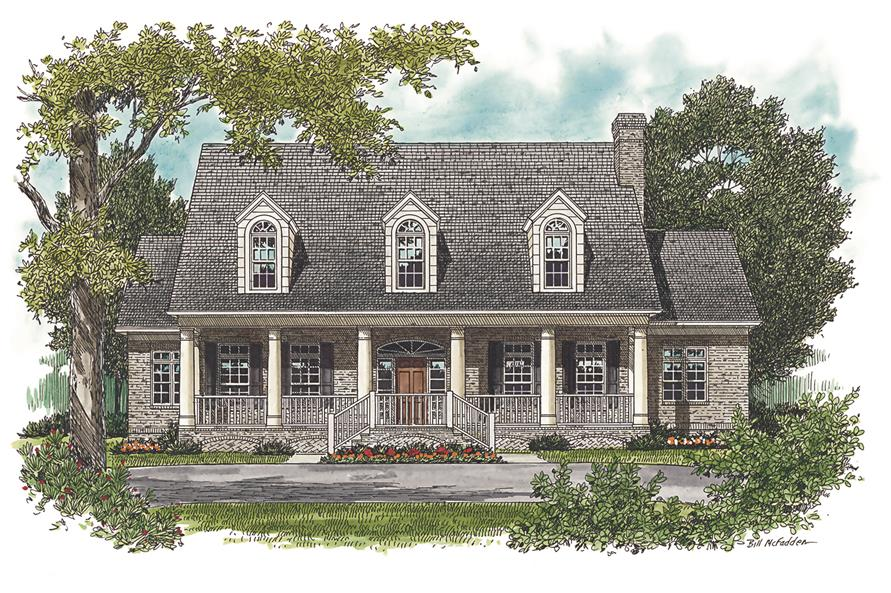 Home Plan Front Elevation of this 5-Bedroom,4176 Sq Ft Plan -180-1024
