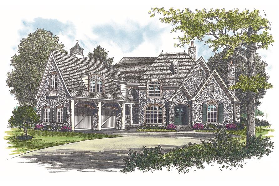 180-1025: Home Plan Rendering-Front Door