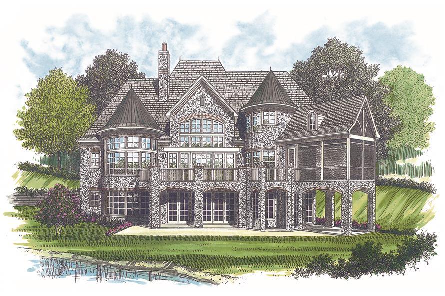 180-1025: Home Plan Rear Elevation