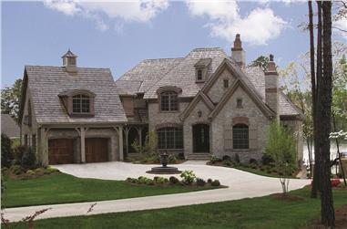 Photo of this luxury manor with European architectural accents. (ThePlanCollection: House Plan #180-1025)
