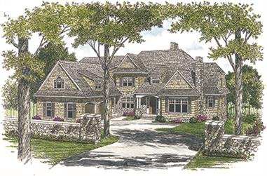 Front elevation of Cottage home (ThePlanCollection: House Plan #180-1026)
