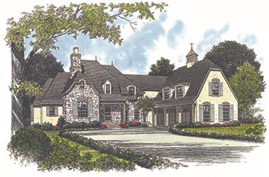 Front elevation of European home (ThePlanCollection: House Plan #180-1027)