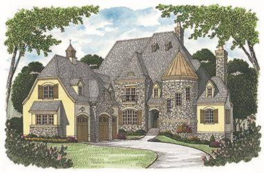 4-Bedroom, 7428 Sq Ft European House Plan - 180-1032 - Front Exterior