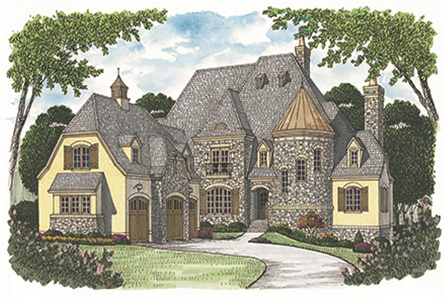Front elevation of European home (ThePlanCollection: House Plan #180-1032)