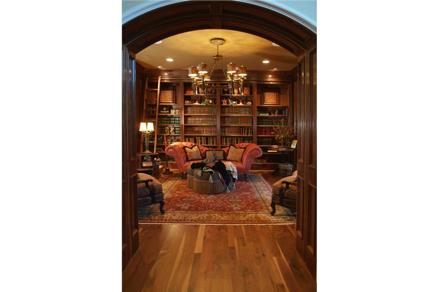 Home Office: Library of this 7-Bedroom,8933 Sq Ft Plan -8933