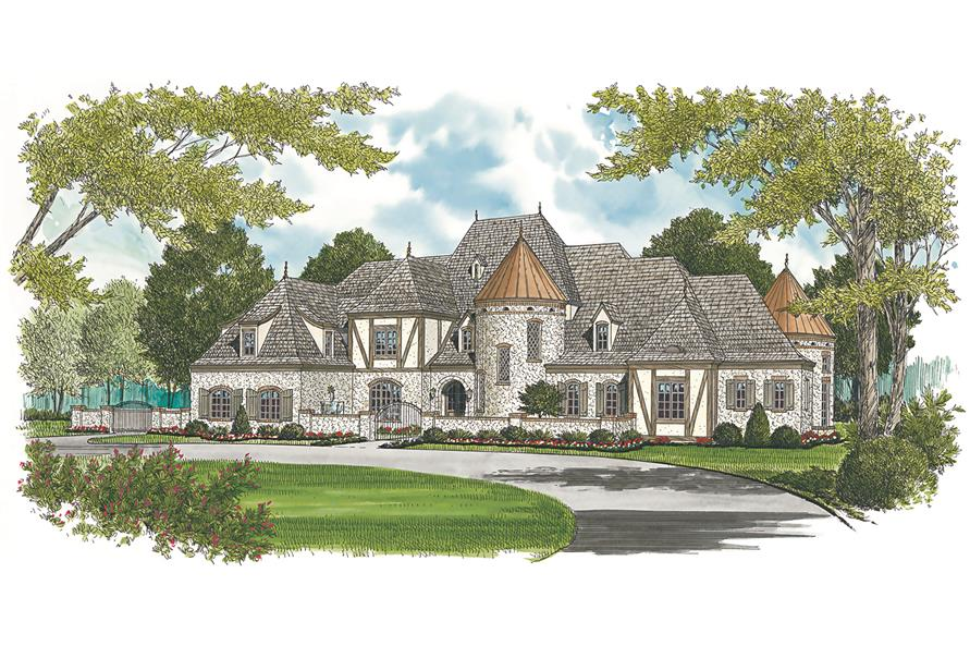 Home Plan Rendering of this 7-Bedroom,8933 Sq Ft Plan -180-1034