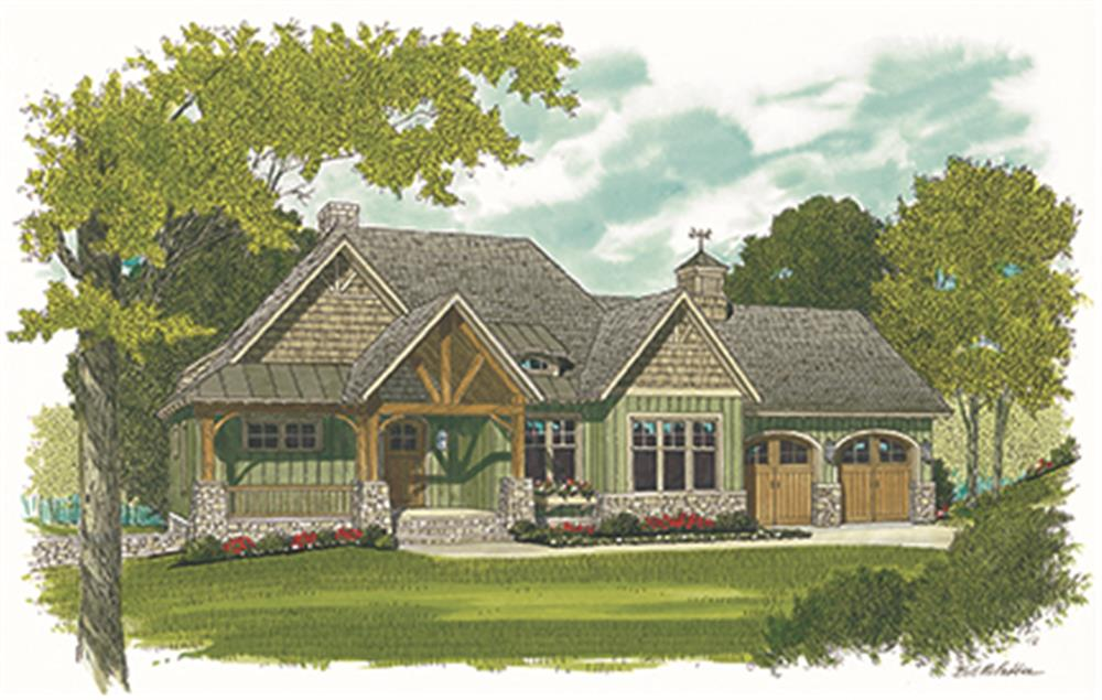Front elevation of Cottage home (ThePlanCollection: House Plan #180-1035)