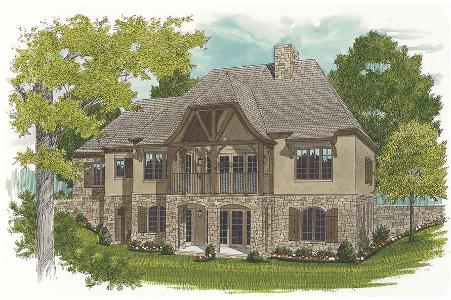 180-1036: Home Plan Rear Elevation