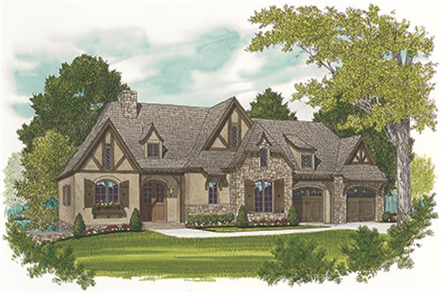 Front elevation of Cottage home (ThePlanCollection: House Plan #180-1036)