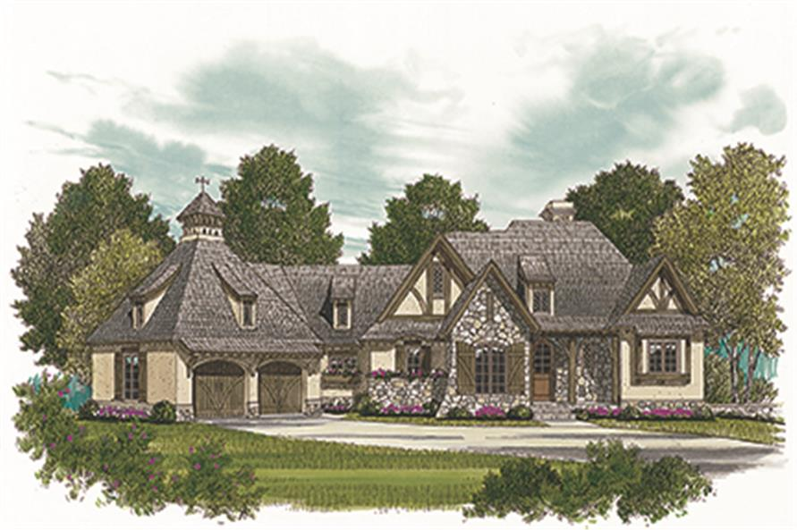 Front elevation of European home (ThePlanCollection: House Plan #180-1038)