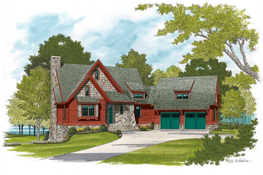 Front elevation of Arts and Crafts home (ThePlanCollection: House Plan #180-1039)