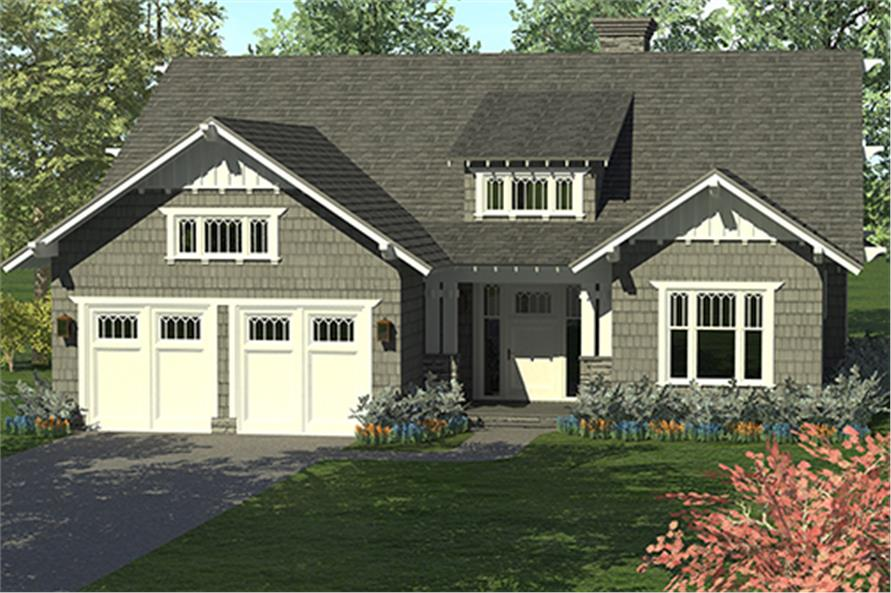 Front elevation of Craftsman home (ThePlanCollection: House Plan #180-1040)