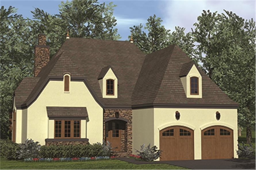 Front elevation of European home (ThePlanCollection: House Plan #180-1041)