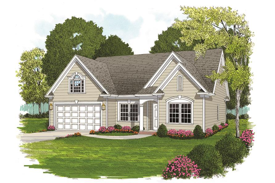Rendering of Ranch home (ThePlanCollection: House Plan #180-1044)