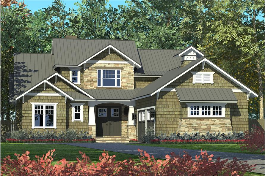 Front elevation of Craftsman home (ThePlanCollection: House Plan #180-1046)