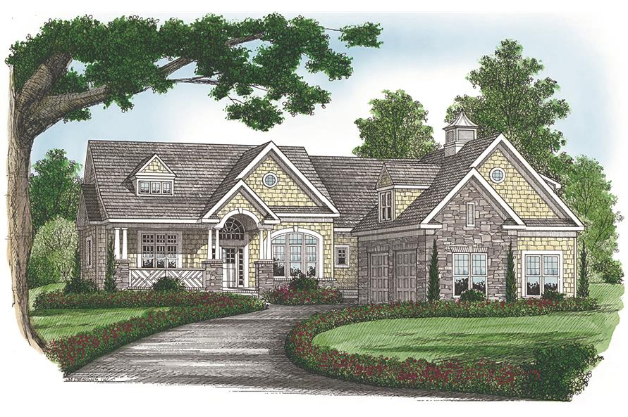 Front elevation of Craftsman home (ThePlanCollection: House Plan #180-1048)