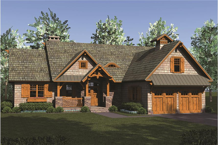 Front elevation of Craftsman home (ThePlanCollection: House Plan #180-1049)