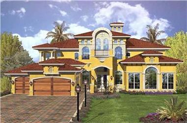 4-Bedroom, 3300 Sq Ft Mediterranean House Plan - 182-1002 - Front Exterior