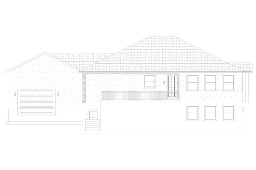 Home Plan Rear Elevation of this 2-Bedroom,2477 Sq Ft Plan -187-1000