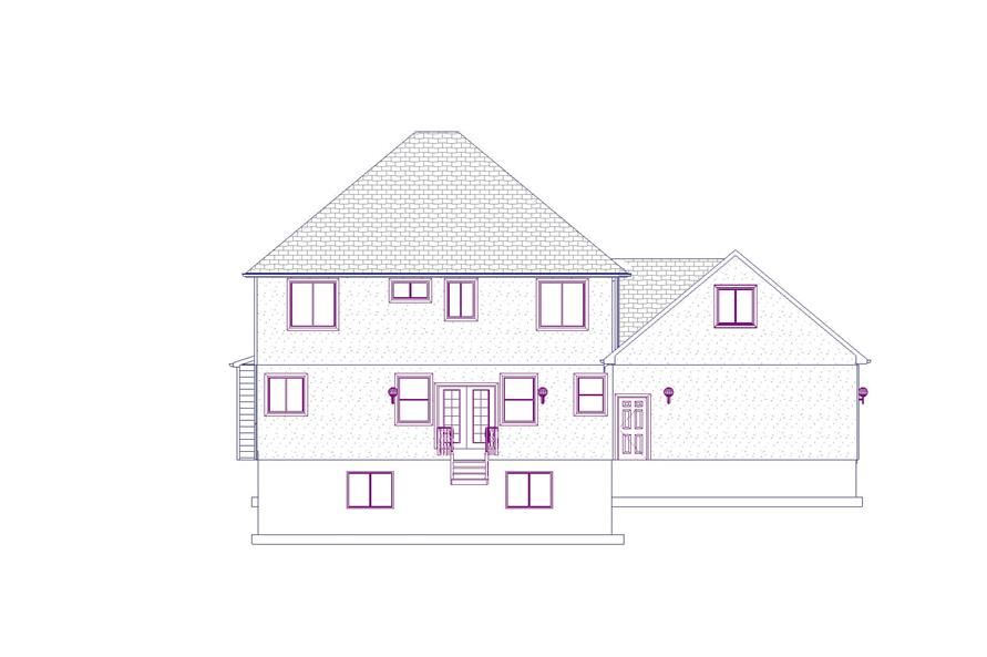 Home Plan Rear Elevation of this 6-Bedroom,3296 Sq Ft Plan -187-1001