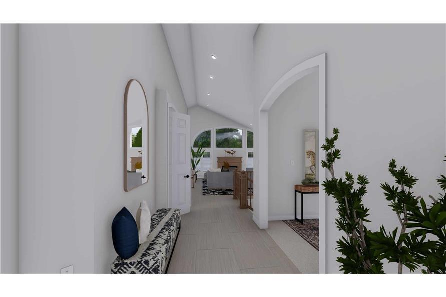 Home Plan Rendering of this 2-Bedroom,1831 Sq Ft Plan -187-1004-Hallway