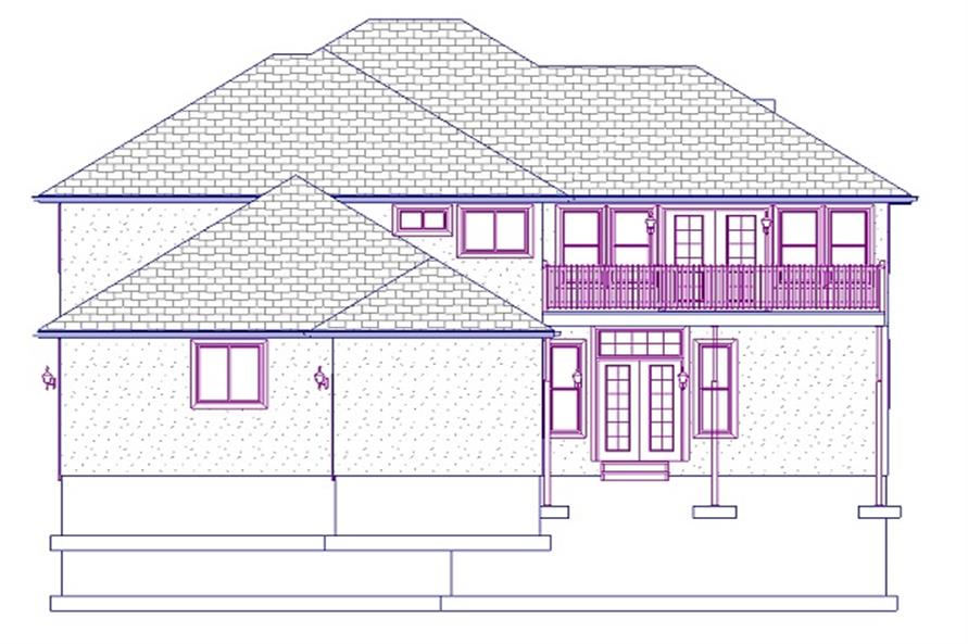 Home Plan Rear Elevation of this 4-Bedroom,2664 Sq Ft Plan -187-1005