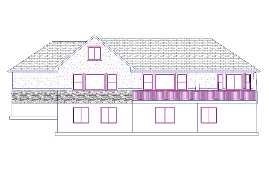 187-1008: Home Plan Rear Elevation