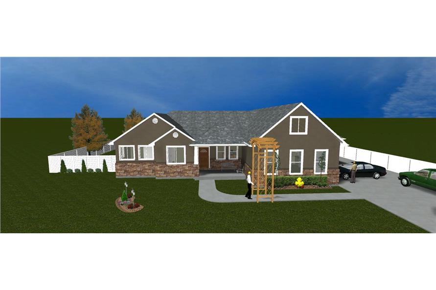 The Plan Collection: Front Elevation of Traditional House # 187-1008