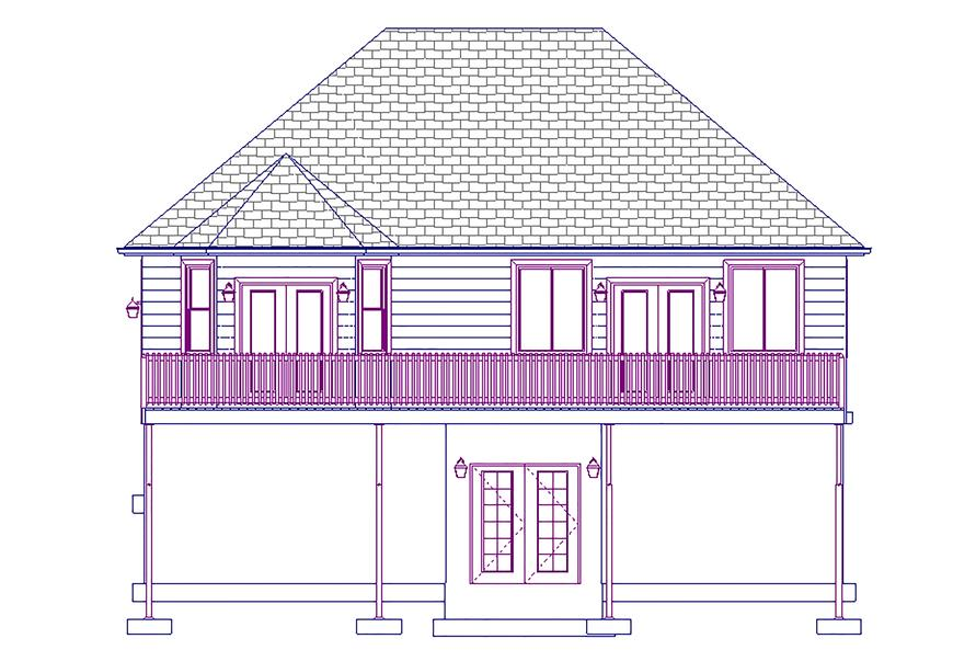 187-1011: Home Plan Rear Elevation