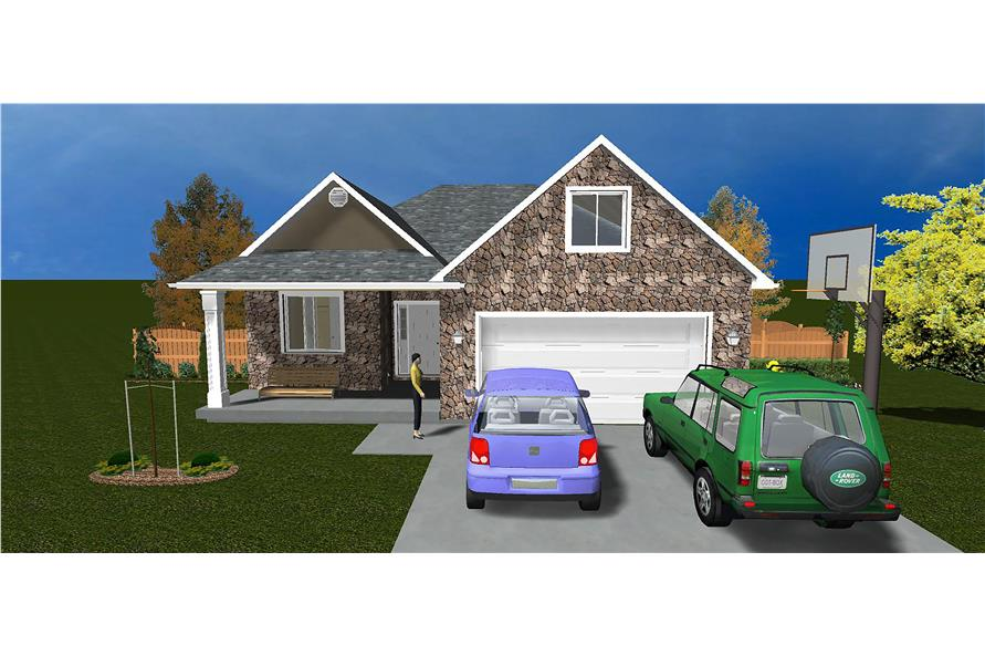 The Plan Collection: Front Elevation of Traditional House # 187-1011