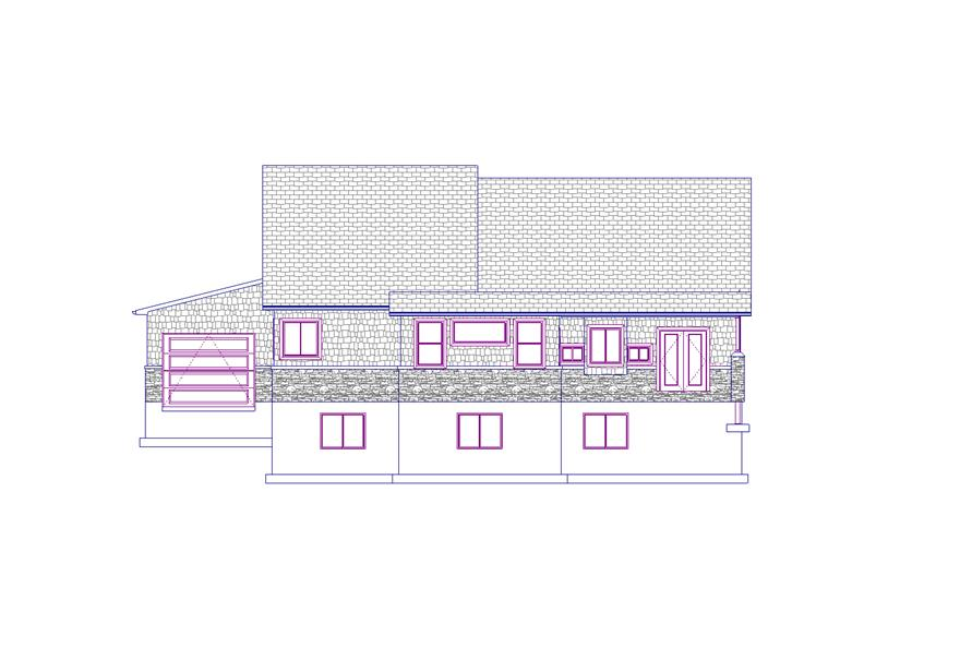 187-1012: Home Plan Rear Elevation