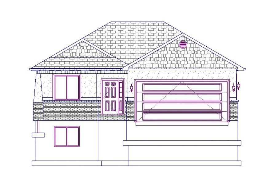 187-1015: Home Plan Front Elevation