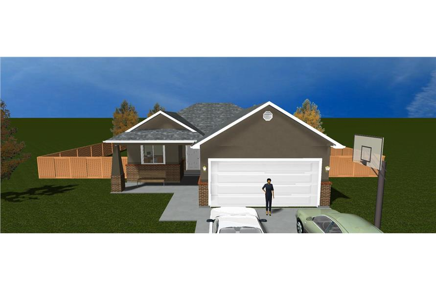 The Plan Collection: Front Elevation of Traditional House # 187-1015
