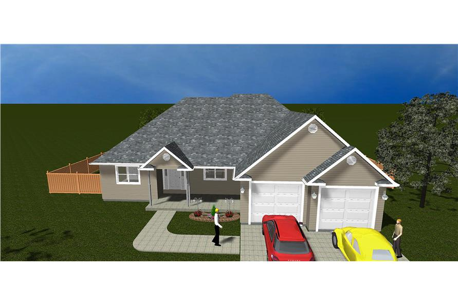 The Plan Collection: Front Elevation of Traditional House # 187-1017