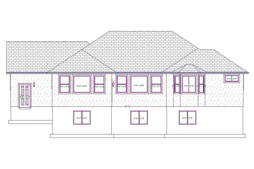 187-1020: Home Plan Rear Elevation