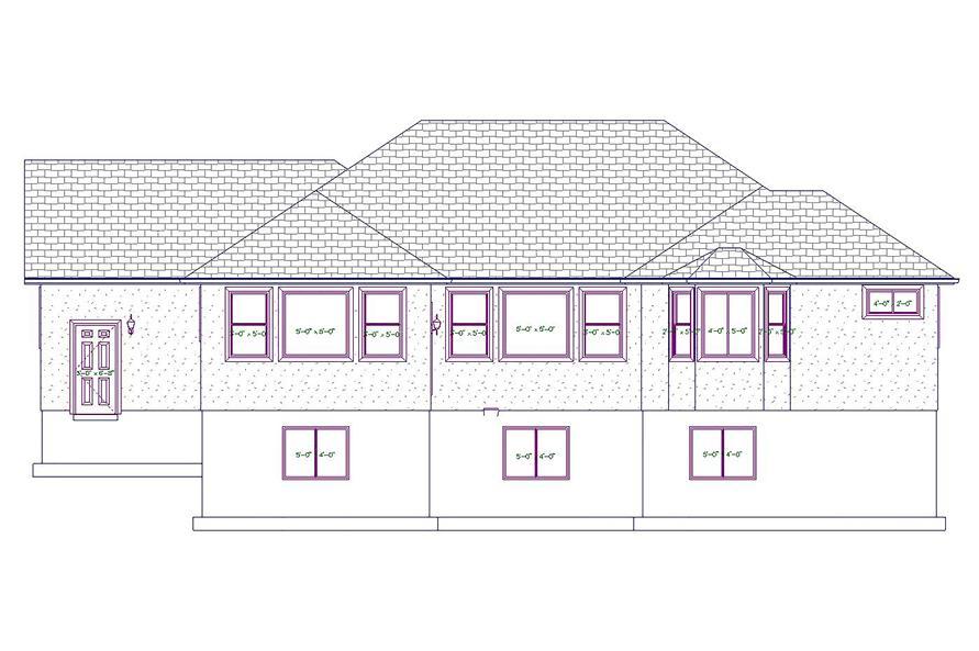 187-1020: Home Plan Rear Elevation