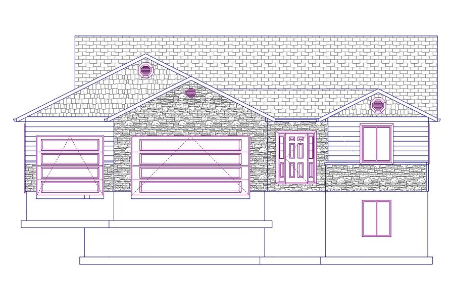 187-1021: Home Plan Front Elevation